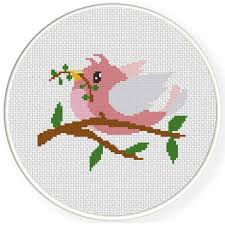 charts club members only pink bird on the tree cross stitch