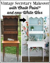 Vintage Desk With Hutch by Coastal Secretary With New White Wax U2013 Themed Furniture Makeover