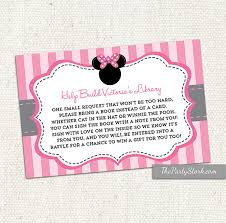 bring book instead of card to baby shower bring a book card instead of a card insert card minnie mouse
