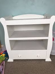 Changing Table Shelves by White Baby Changing Table Sleigh Design With 2 Shelves And