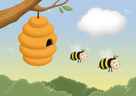 beehive on a tree with bees leaving it stock photo picture and