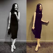 hillary kimeya new look black midi dress diva flower crystal