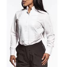 womens tuxedo shirt white pleated wing tip collar halloween