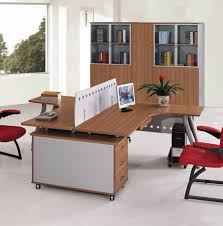 rustic office decor with long broen oak wood table combined with