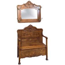 super quarter sawn oak hall bench with matching mirror with hooks