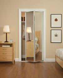 Bi Fold Doors For Closets Mirror Design Ideas Minimalist Unframed Bifold Mirrored Wardrobe
