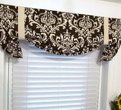 brown damask tie up curtain valance handmade by supplierofdreams