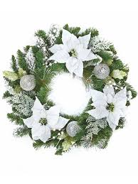 white poinsettia buy 60cm white poinsettia christmas wreath from seasons christmas