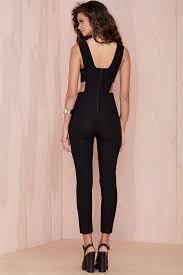 gal jumpsuit lyst gal with the band cutout jumpsuit in black