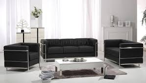 f02 le corbusier style black leather sofa w options