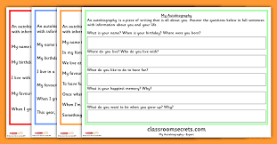 year 1 autobiography writing prompt differentiated worksheets