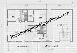 Floor Plans For Barn Homes 2 Bedroom 2 Bath Barndominium Floor Plan For 35 Foot Wide Building