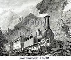 19th century engraving of an old steam train bridge near rome
