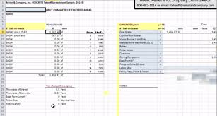 Contractor Estimate Template Excel by Software Free Concrete