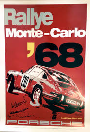 porsche 911 poster monte carlo rally 1968 porsche 911 art poster autographed by vic