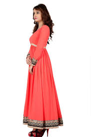buy banorani peach color faux georgette full length anarkali with