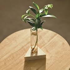 ivolador crystal glass test tube vase in wooden stand flower pots