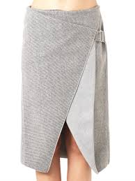 dion lee envelope fold striped skirt in gray lyst