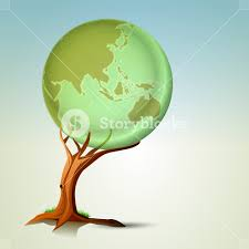 abstract nature background with tree holding the globe royalty