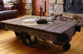 Old Coffee Table by Pieced Pastimes Factory Cart Coffee Table