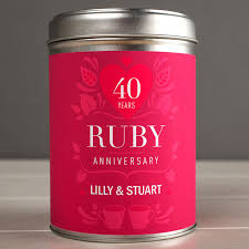 ruby gifts personalised tea tin 40 years ruby anniversary gettingpersonal