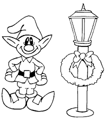 lamp elf coloring christmas elves