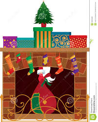 fireplace with stockings clipart collection