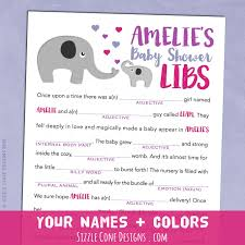 elephants baby shower mad lib game personalized printable fun