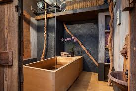 Textured Accent Wall Japanese Soaking Tub Bathroom Industrial With Black Textured