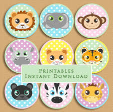 safari cake toppers baby jungle animals printable cupcake from jannasalakdesigns on