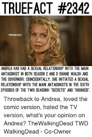 Sexual Relationship Memes - truefact 2342 twdtruefacts andrea has had a sexual relationship