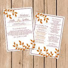 fall wedding programs fall wedding program printable wedding program autumn wedding
