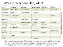 montessori daily lesson plan blank calendar