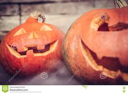 halloween background jack halloween background with jack o lanterns in mist stock photo