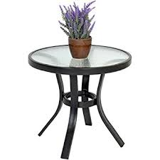 black patio table glass top amazon com outdoor side table black steel small round tempered