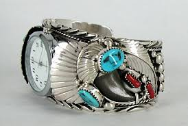 cuff bracelet watches images Authentic native american bear claw watch cuff bracelet turquoise jpg