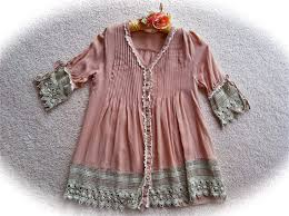 Womens Shabby Chic Clothing by Reserved Mnvr Romantic Boho Tea Stain Poets Tunic Top Vintage Lace