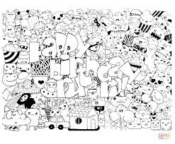 happy birthday doodle coloring page free printable coloring pages