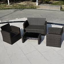 Discount Wicker Patio Furniture Sets - costway 4 pcs cushioned wicker patio sofa furniture set garden