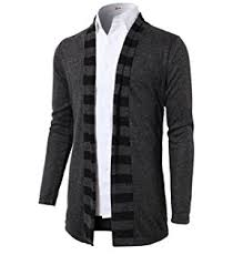 black sweater with white collar h2h mens fashion slim fit open front sleeve shawl collar