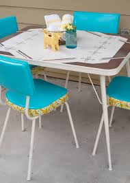 Retro Patio Table by How To Make Over A Vintage Vinyl Dinette Set Using Spray Paint