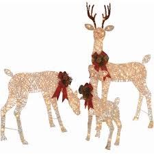 Outdoor Christmas Ornaments Lighted by Holiday Time Christmas Decor Set Of 3 Woodland Vine Deer Family