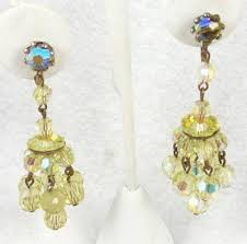 clip on chandelier earrings yellow bead chandelier earrings garden party collection
