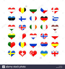 Europe Country Flags Heart Shaped Buttons Of European Countries Flags Stock Photo