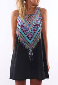 tribal dress tribal print tradition shift black dress emmacloth women fast
