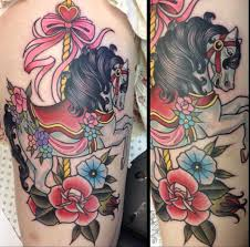carousel horse tattoo ebony mellowship neo traditional ink