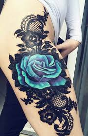 chains and black rose flowers tattoo on side leg art for the
