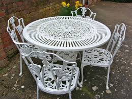 Garden Patio Table Vintage Shabby Chic White Cast Iron Garden Furniture Set Table