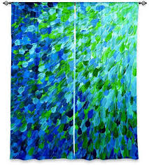 gorgeous blue and green curtains and yellow and blue shower