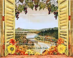 mural tiles for kitchen backsplash vineyard backsplash tile mural for country kitchens